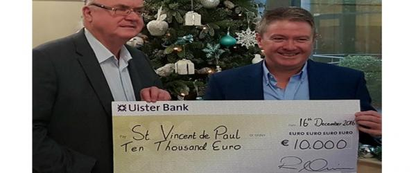Ardmac Delivers Early Christmas Present of €10,000 To St Vincent de Paul