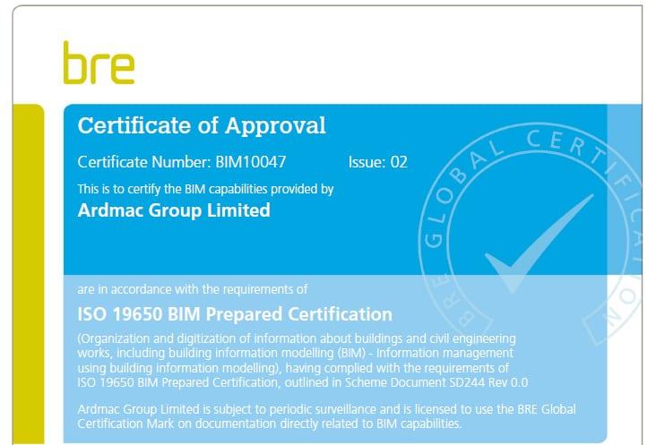 Ardmac receives ISO19650 BIM Prepared Certification