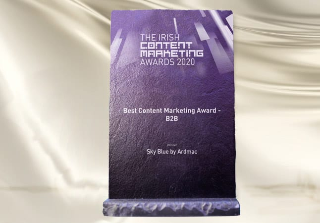 Ardmac wins the Irish Sky Blue B2B Content Marketing Awards 2020